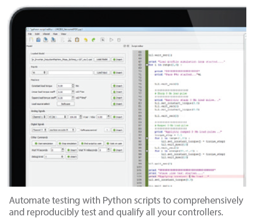 Automate testing with Python scripts to comprehensively and reproducibly test and qualify all your controllers.