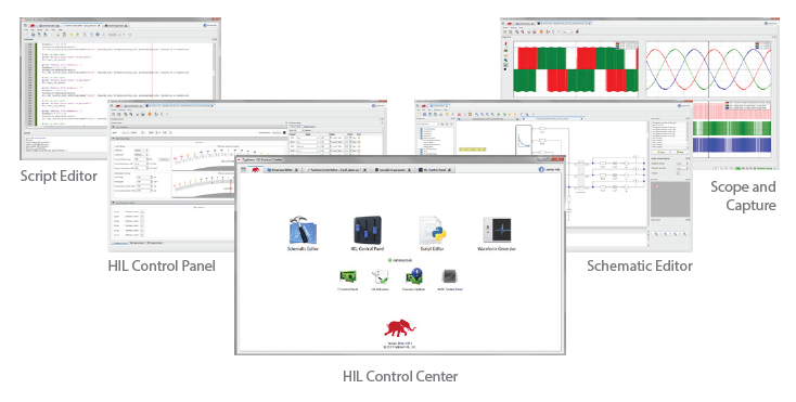 Script Editor, HIL Control Panel, HIL Control Center, Schematic Editor, Scope and Capture