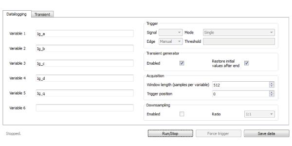 BoomBox control datalogging configuration